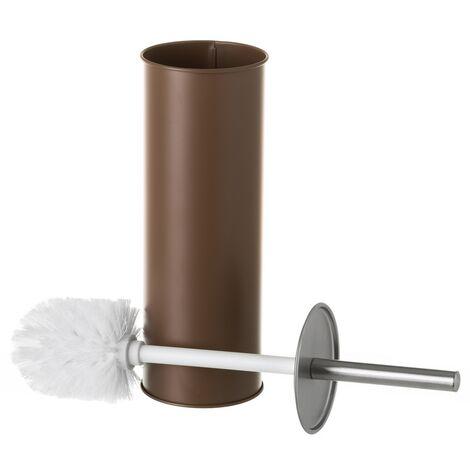 Escobilla de baño chocolate de metal y polipropileno contemporánea de Ø 9x38 cm