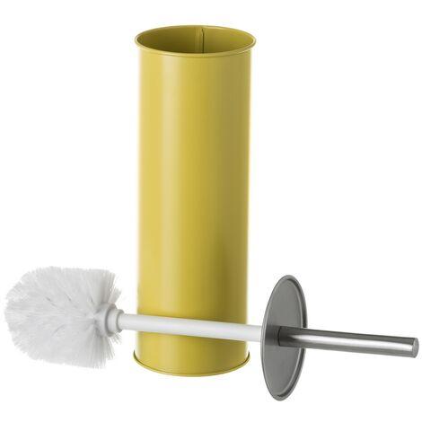Escobilla de baño mostaza de metal y polipropileno contemporánea de Ø 9x38 cm