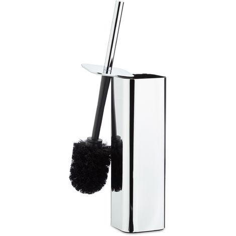 Escobilla de Baño Soporte Pared, Escobillero, Portaescobillas WC, Metal, 1 Pack, 38,5x8x8 cm, Plateado/Negro