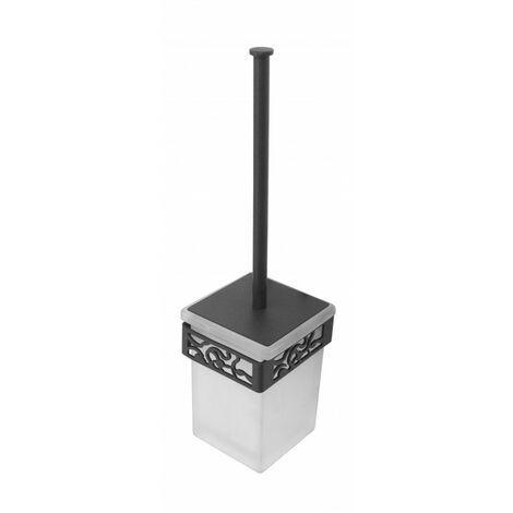 Escobillero Art Déco Negro forja fijación opcional con adhesivo - CM Baños