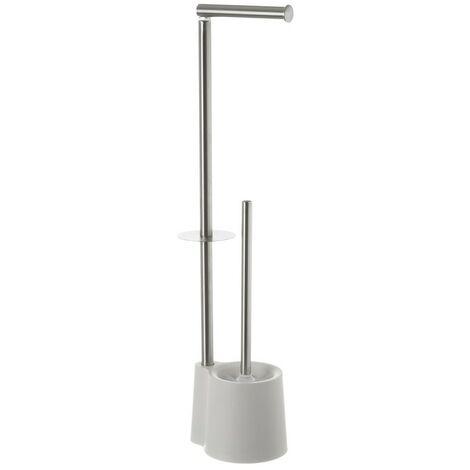 Escobillero Blanco Portarollos para Baño, de Acero Inoxidable. Diseño Moderno/Elegante 16x65,5x12,8 cm