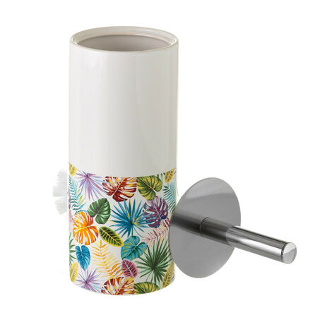 Escobillero de Cerámica, Colorido. Diseño de Hojas de Palmera, con estilo Tropical - Hogar y Más