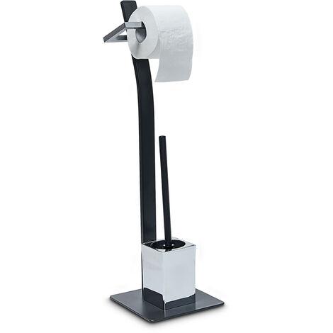 - Escobillero GRAO, acero cromado, 70 x 20 x 20 cm escobillero gris con escobilla y soporte de metal para rollo de papel, cepillo negro y escobillero, escobilla