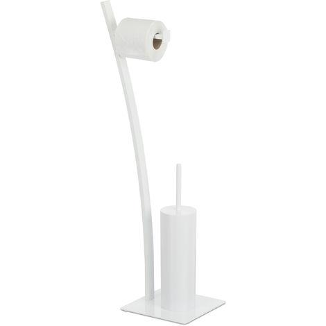 Escobillero Portarrollos, Acero-Plástico, Blanco, 78x29x20cm