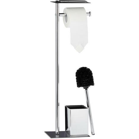 Escobillero Portarrollos de Baño, Hierro Cromado, Plateado-Negro, 66 x 20 x 13 cm