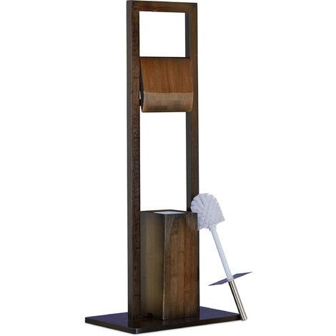 Escobillero Portarrollos de Pie, Bambú, Acero Inoxidable y Plástico, Marrón, 82 x 36 x 21 cm