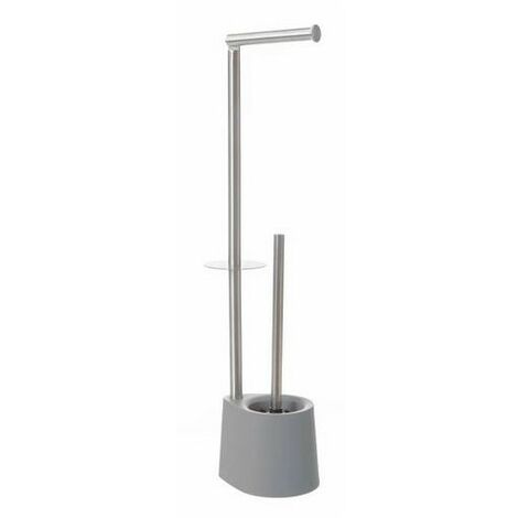 Escobillero Portarrollos Gris de Baño, Acero Inoxidable. Diseño Minimalista/Elegante 16x12,8x65,5 cm