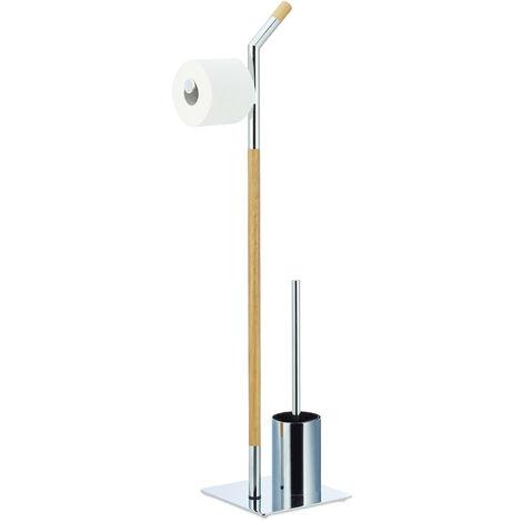 Escobillero Portarrollos, Madera-Metal, Plateado-Beige, 90 x 24 x 20 cm