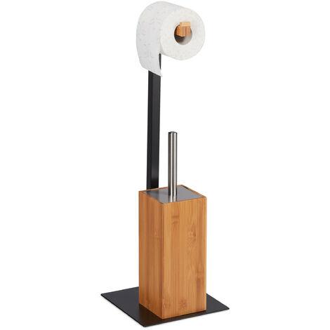 Escobillero Portarrollos, Soporte Papel y Escobilla de Baño, 1 Ud., Bambú-Metal, 60 x 20 x 20 cm, Marrón-Negro