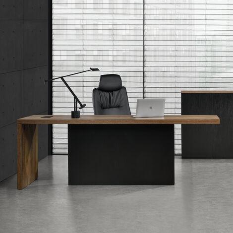 "main image of ""Escritorio 220cm negro mesa de oficina con regleta integrada roble ahumado"""