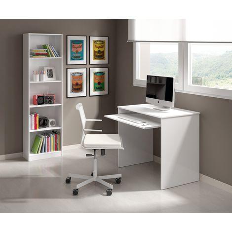 Escritorio 90x54 cm Blanco mate con estante extraíble   Blanco