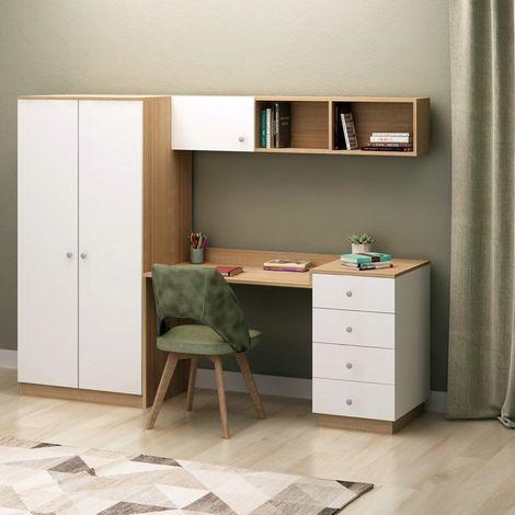 Escritorio Almila - con armario integrado, estante, puertas, cajones - para oficina, estudio, dormitorio - Roble, Blanco en Madera, 145 x 60 x 170 cm