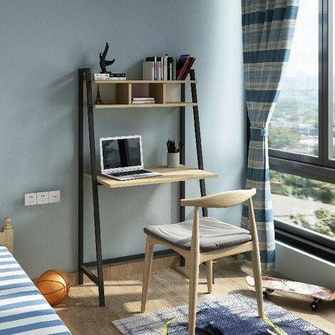 Escritorio Basil Metal - Con estanteria integrada - para pared, oficina, estudio, dormitorio - Roble, Blanco en Madera, Metal, 85 x 46 x 140 cm