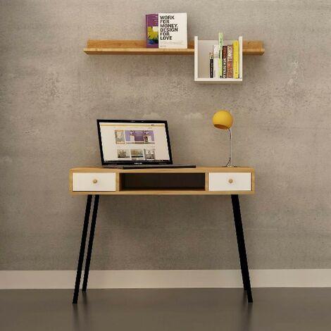 Escritorio Basil Metal - Mesa - con estante, cajones - para oficina, estudio, dormitorio - Roble, Blanco, Negro en Madera, Metal, 100 x 60 x 72 cm