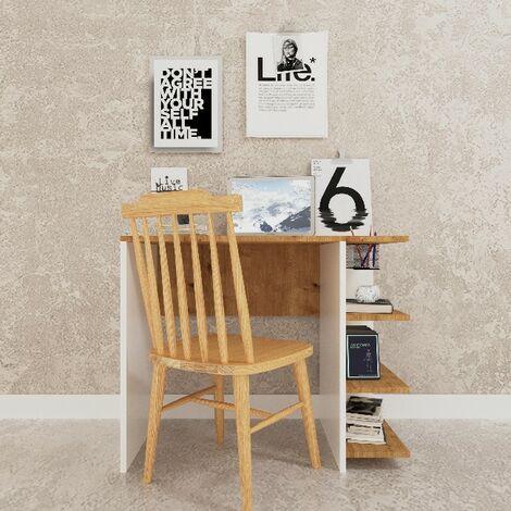 Escritorio Basil Wood - Mesa - con estante - para oficina, estudio, dormitorio - Roble, Blanco en Madera, 90 x 50 x 72 cm