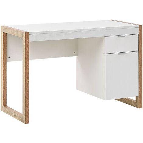 Escritorio blanco/madera clara 110x50 cm JOHNSON