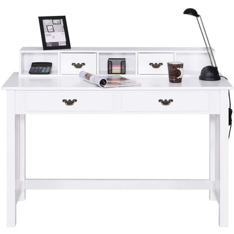 Escritorio con 4 Cajones Mesa para Computadora con Parte Superior Removible Mesa de Trabajo de Madera Mesa Consola para Oficina Hogar Maquillaje