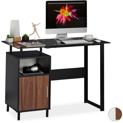 Escritorio con tablero de cristal brillante, Dos compartimentos, Home Office, 76,5x110x55 cm, Negro
