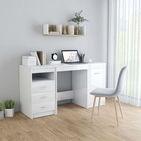 Escritorio de aglomerado blanco brillante 140x50x76 cm - Blanco
