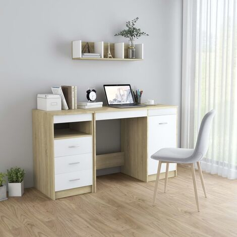 Escritorio de aglomerado blanco y roble Sonoma 140x50x76 cm - Beige