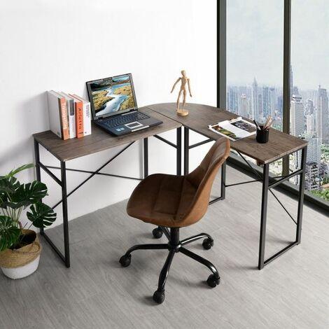 Escritorio de Esquina, Mesa en Forma de L, Oficina en Casa, Fácil de Montar, Marco de Acero, Estilo Industrial - Negro