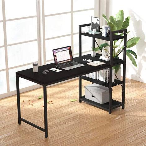 Escritorio de oficina 120x62 diseño moderno estantería abierta de metal negro Cambridge BLACK