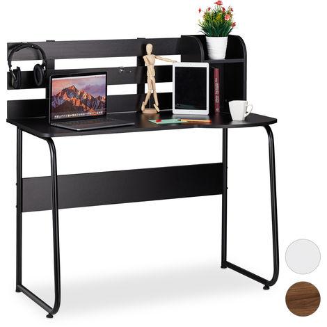 Escritorio de oficina, Dos compartimentos & Pared, Mueble para estudiantes, 110x57x110 cm, Negro