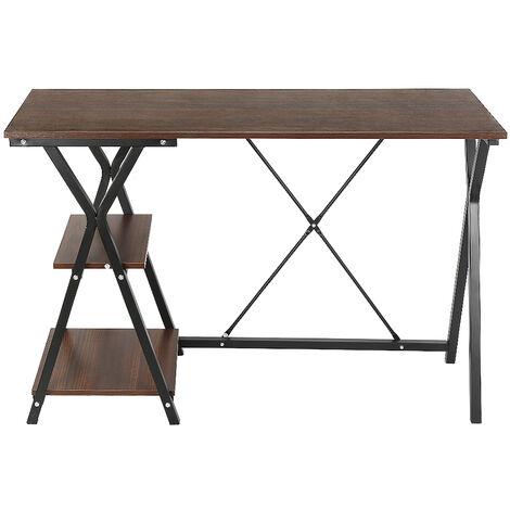 Escritorio de Oficina|Mesa de Ordenador con un estante -para Oficina Despacho Dormitorio 120x48x77.5cm Estanteria deTrabajo