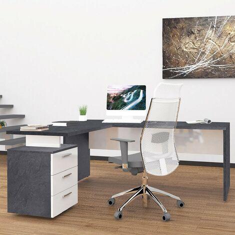 Escritorio de oficina moderno con cómoda de 3 cajones New Selina Report 180x160 cm