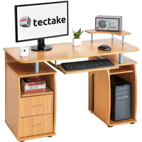 Escritorio de ordenador 115x55x87cm - mesa de escritorio para dormitorio, mesa de estudio moderna para oficina, escritorio con estantes y bandeja
