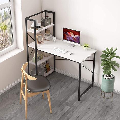 Escritorio de Ordenador con 3 Estantes Escritorio para Computadora Mesa de Oficina Mesa para PC Mesa de Trabajo120x64x121cm