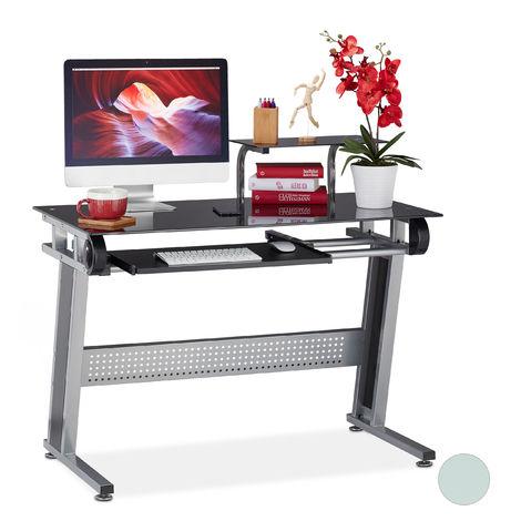 Escritorio de PC, Bandeja para teclado, Estante, Moderno, Cristal, 94x110x63 cm, Negro
