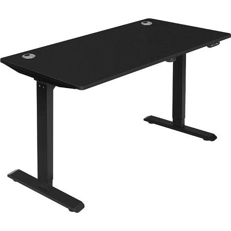 Escritorio eléctrico con ajuste de altura sin escalas, Mesa de trabajo motorizada, 140 x 70 x (73-114) cm, Acero, Marrón Rústico y Negro LSD012B01 - Marrón Rústico y Negro