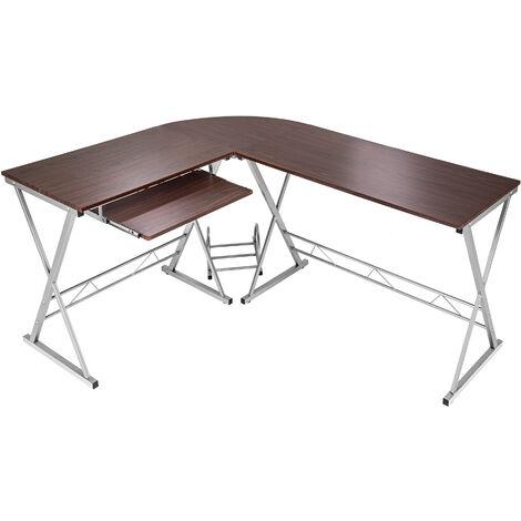 Escritorio en esquina/mesa para ordenador - mesa de escritorio esquinera, mesa de estudio moderna para oficina, escritorio con bandeja y soporte