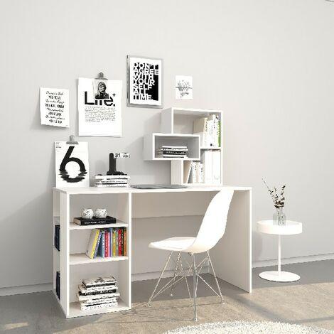 Escritorio Ermes - con estanteria integrada, estantes - estudio, dormitorio - Blanco en Madera, 130 x 60 x 75 cm