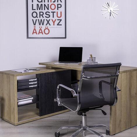 Escritorio esquinero con extensión lateral de diseño en madera para oficina y estudio ALAMEDA