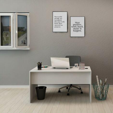 Escritorio Hestina - con estante - para oficina, estudio, dormitorio - Blanco en Madera, 140 x 70 x 74 cm
