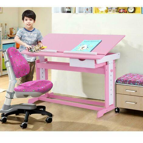 Escritorio Infantil Mesa de Lectura para Niños Altura Ajustable Inclinación Habitación Muebles con Cajón Ángulo Rosa