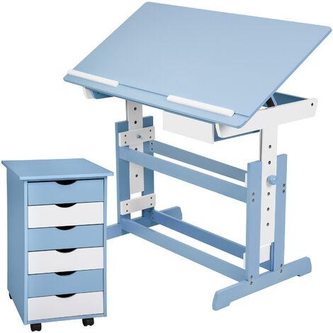 Escritorio infantil y cajonera - mesa de escritorio para dormitorio infantil, escritorio para niños de madera lacada con cajón, mesa de estudio juvenil con tablero inclinable