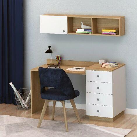 Escritorio Keta - con estante, puertas, cajones - oficina, estudio, dormitorio - Roble, Blanco en Madera, 145 x 60 x 74 cm