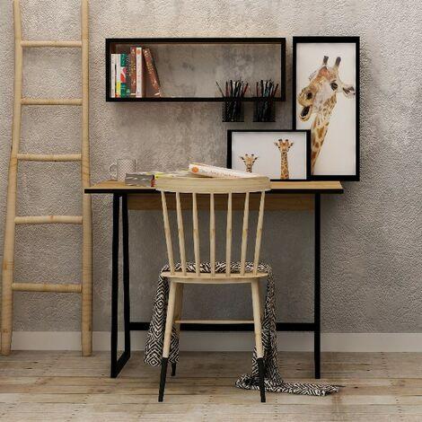 Escritorio Koala - con estante - para oficina, estudio, dormitorio - Roble, Blanco en Madera, 100 x 60 x 108 cm