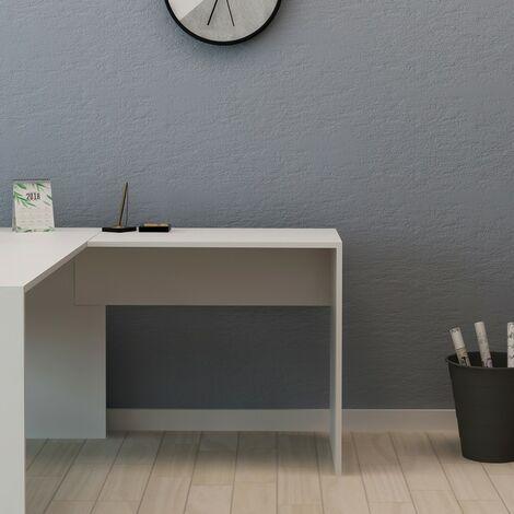 Escritorio Lateral Milvana - Consola, Modular, Esquina, Extensible - para oficina, estudio, dormitorio - Blanco en Madera, 80 x 50 x 74 cm