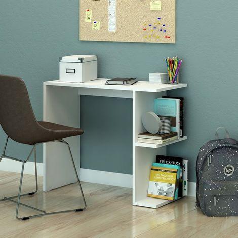 Escritorio Lily - con estante - para oficina, estudio, dormitorio - Blanco en Madera, 85 x 40 x 72 cm