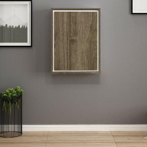 Escritorio Magicbox Plegable, de Pared - con Compartimientos - para Estudio, Dormitorio - Nogal, Blanco en Madera, 77 x 62 x 75 cm