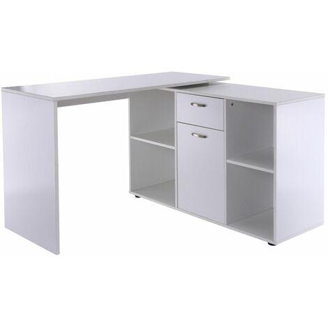 Escritorio Mesa de Ordenador Mesa Esquinera Oficina 2 Formas con Estantes Cajón