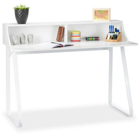Escritorio moderno, Compartimentos y estante, Metal y MDF, 92 x 120 x 60 cm, Blanco