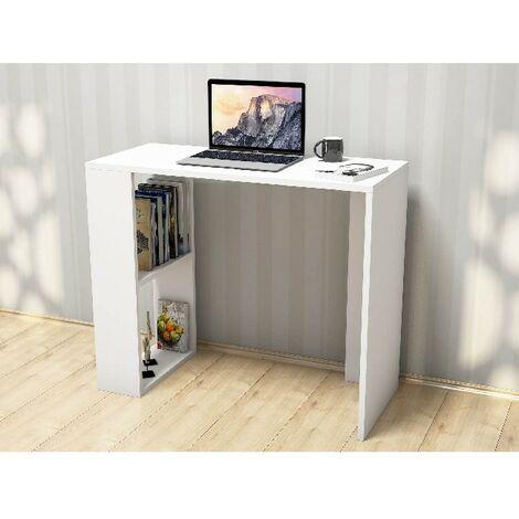 Escritorio Nano con Compartimientos - para Estudio, Dormitorio, Oficina - Blanco en Madera, 90 x 40 x 75 cm