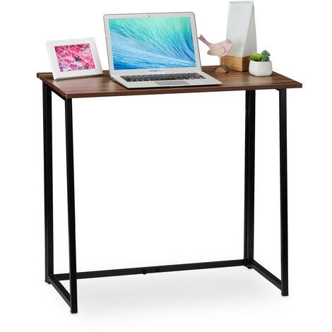 Escritorio plegable, Mueble de oficina, 74,5x80x45 cm, Marrón/Negro