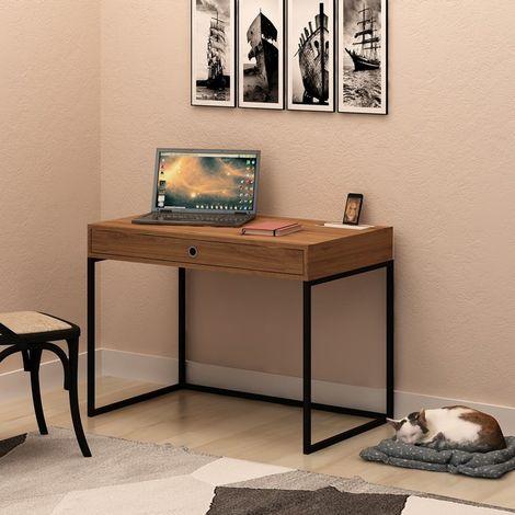 Escritorio Ramirez - con cajones - para oficina, estudio, dormitorio - Roble, Blanco en Madera, Metal, 100 x 60 x 75 cm