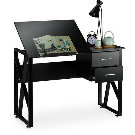 Escritorio reclinable, Mesa ajustable, Escritorio de dibujo, 75x110x55 cm, Negro